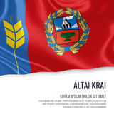 Russian state Altai Krai flag. Russian state Altai Krai flag waving on an  white background. State name and the text area for your message. 3D illustration Royalty Free Stock Photos