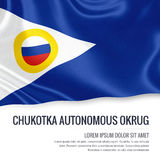 Russian state Chukotka Autonomous Okrug flag. Russian state Chukotka Autonomous Okrug flag waving on an  white background. State name and the text area for your Stock Images
