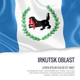 Russian state Irkutsk Oblast flag waving on an isolated white ba Stock Photo