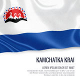 Russian state Kamchatka Krai flag waving on an isolated white ba. Ckground. State name and the text area for your message. 3D illustration Royalty Free Stock Images