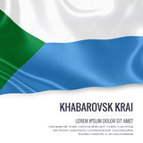 Russian state Khabarovsk Krai flag. Russian state Khabarovsk Krai flag waving on an  white background. State name and the text area for your message. 3D Royalty Free Stock Photo