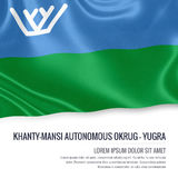 Russian state Khanty-Mansi Autonomous Okrug-Yugra flag. Russian state Khanty-Mansi Autonomous Okrug-Yugra flag waving on an  white background. State name and Stock Photos