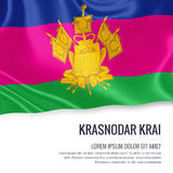 Russian state Krasnodar Krai flag. Russian state Krasnodar Krai flag waving on an isolated white background. State name and the text area for your message. 3D Stock Photos
