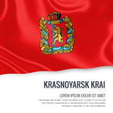 Russian state Krasnoyarsk Krai flag. Russian state Krasnoyarsk Krai flag waving on an  white background. State name and the text area for your message. 3D Stock Photography