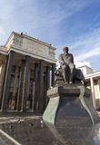 Russian State Library (Library name of Lenin) and a monument of russian writer Dostoievsky, in Moscow Stock Photography