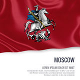 Russian state Moscow flag. Russian state Moscow flag waving on an isolated white background. State name and the text area for your message. 3D illustration Stock Photography