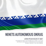 Russian state Nenets Autonomous Okrug flag. Russian state Nenets Autonomous Okrug flag waving on an isolated white background. State name and the text area for Royalty Free Stock Image