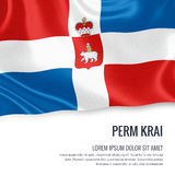 Russian state Perm Krai flag. Russian state Perm Krai flag waving on an isolated white background. State name and the text area for your message. 3D Royalty Free Stock Photos