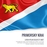Russian state Primorsky Krai flag. Russian state Primorsky Krai flag waving on an isolated white background. State name and the text area for your message. 3D Stock Photography