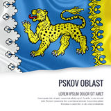 Russian state Pskov Oblast flag. Stock Photo