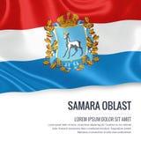 Russian state Samara Oblast flag. Royalty Free Stock Photo