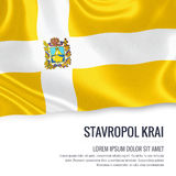 Russian state Stavropol Krai flag waving on an isolated white ba. Ckground. State name and the text area for your message. 3D illustration Stock Image