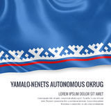 Russian state Yamalo-Nenets Autonomous Okrug flag. Russian state Yamalo-Nenets Autonomous Okrug flag waving on an isolated white background. State name and the Stock Images