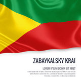 Russian state Zabaykalsky Krai flag. Russian state Zabaykalsky Krai flag waving on an  white background. State name and the text area for your message. 3D Royalty Free Stock Photo