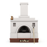 Russian stove front view. 3d. Russian stove front view  on white background. 3d illustration Stock Images