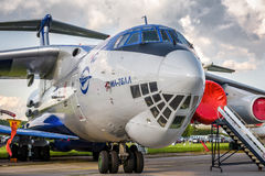 Russian strategic airlifter Ilyushin Il-76. Moscow Region - July 21, 2017: Russian strategic airlifter Ilyushin Il-76 at the International Aviation and Space Stock Image