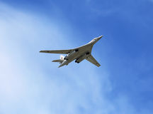 Russian strategic bomber in flight Stock Photo
