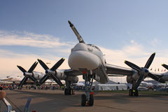 A Russian strategic bomber Tu-95. ZHUKOVSKY, RUSSIA - AUGUST 19: A Russian strategic bomber Tu-95 Bear on display at the Moscow Aerospace Show (MAKS-2011) on Stock Photography