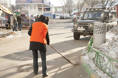 Russian street cleaner Royalty Free Stock Photography
