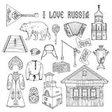 Russian style collection for coloring book. Vector illustration Stock Photos