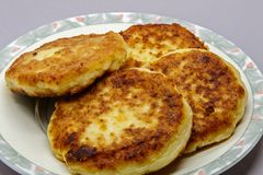 Cottage cheese pancakes. Russian style cottage cheese pancakes Royalty Free Stock Photography