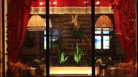 Russian style of decorating the restaurant stock video footage