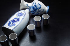 Russian style gzhel table service on black background Stock Images