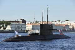 Russian Submarine. Russian diesel-electric (Lada Project) submarine Saint-Petersburg of Baltic Fleet on the road in the Saint-Petersburg during Navy Day Stock Photos