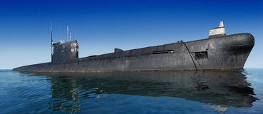 Russian submarine. On ocean surface Stock Photos