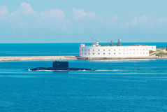 Russian submarine go out from the bay. Royalty Free Stock Photo