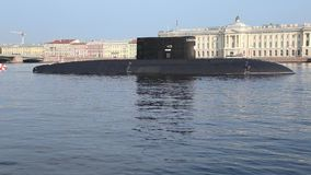 Russian submarine `Krasnodar` class Improved Kilo with missile system Kalibr stock video footage