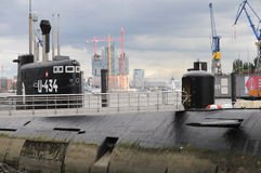 Russian  submarine U-434 in the port of Hamburg Stock Images