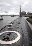 Russian  submarine U-434 in the port of Hamburg Stock Photos