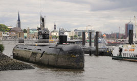 Russian  submarine U-434 in the port of Hamburg Stock Image