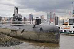 Russian  submarine U-434 in the port of Hamburg Royalty Free Stock Photo