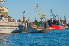 Russian Shipyard With Two Submarines. Shipyard with new built submarines in Saint Petersburg, Russia Stock Image