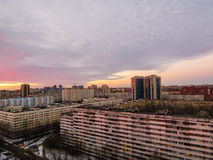 Russian suburb. View of a Russian suburb at sunset Stock Photos