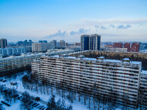 Russian suburb. View of a Russian suburb in winter in St. Petersburg Stock Photo