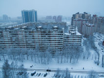 Russian suburb in winter. View from above of a Russian suburb in winter in Saint Petersburg Royalty Free Stock Photography