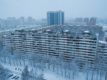 Russian suburb in winter. View from above of a Russian suburb in winter in Saint Petersburg Royalty Free Stock Images