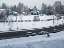 Russian suburb in winter Royalty Free Stock Images
