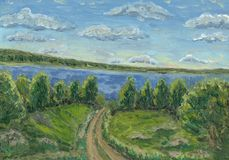 Russian summer. Oil painting hand drawn with sunny summer day(the road go from the Volga rive Royalty Free Stock Image