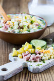 Russian  summer cold soup okroshka, ingredients Royalty Free Stock Image