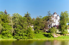 Russian summer landscape with white chuch Royalty Free Stock Photography