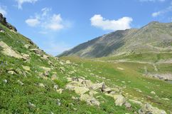 Russian summer mountain landscape in the Caucasus biosphere reserve. Russian summer mountain landscape in Caucasus biosphere reserve stock image