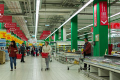 Russian Supermarket with People Royalty Free Stock Image