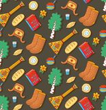 Russian symbols doodle icons seamless vector pattern. Russian symbols fir tree valenki ushanka hat bread doodle cartoon colorful icons seamless vector pattern Royalty Free Stock Photography