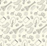Russian symbols doodle icons seamless vector pattern. Russian symbols doodle cartoon line icons valenki balalaika ushanka seamless vector pattern Stock Image
