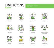 Russian symbols - flat design line icons set Royalty Free Stock Photos