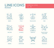 Russian symbols - flat design line icons set Royalty Free Stock Images